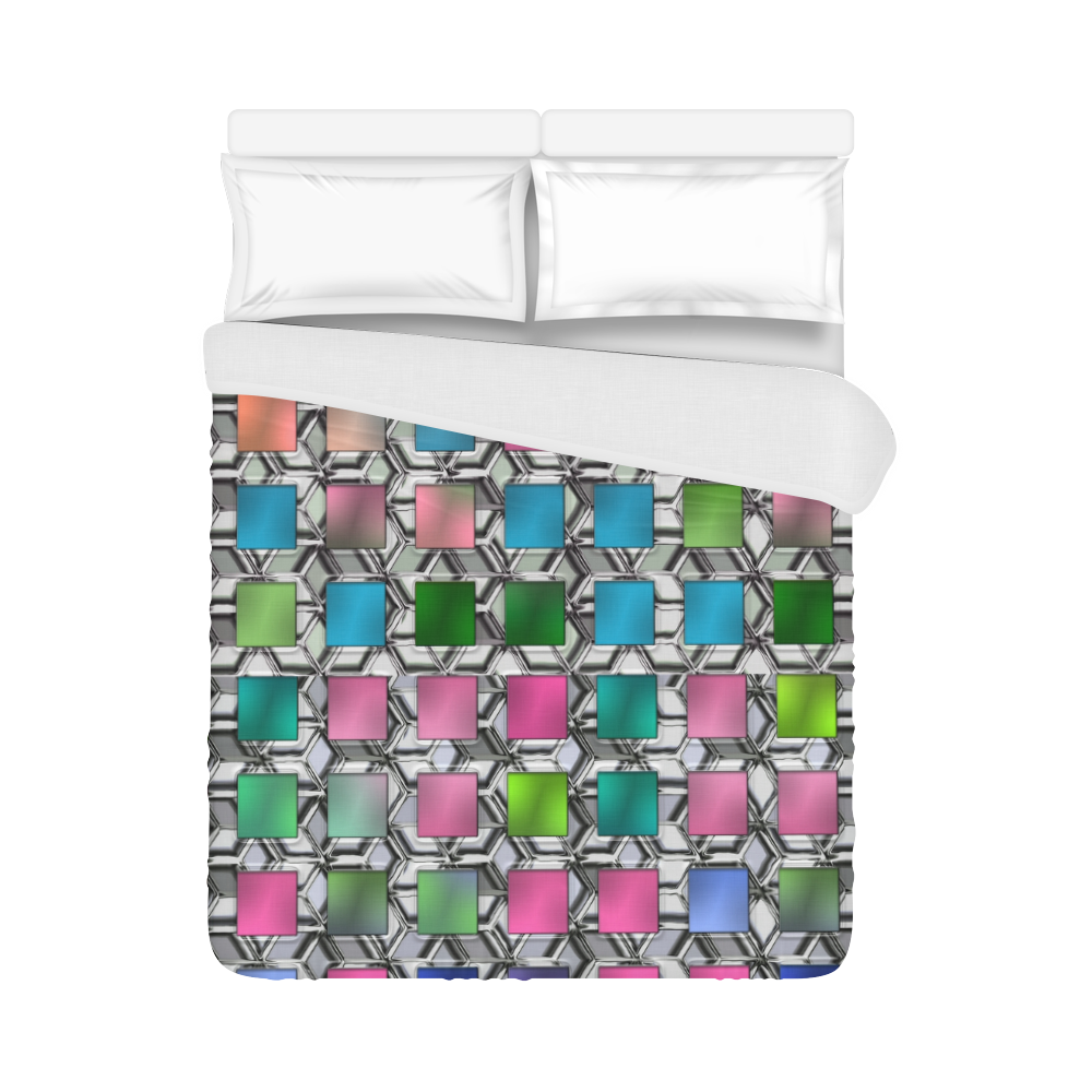 "SQUARE MULTICOLOR Duvet Cover 86""x70"" ( All-over-print)"