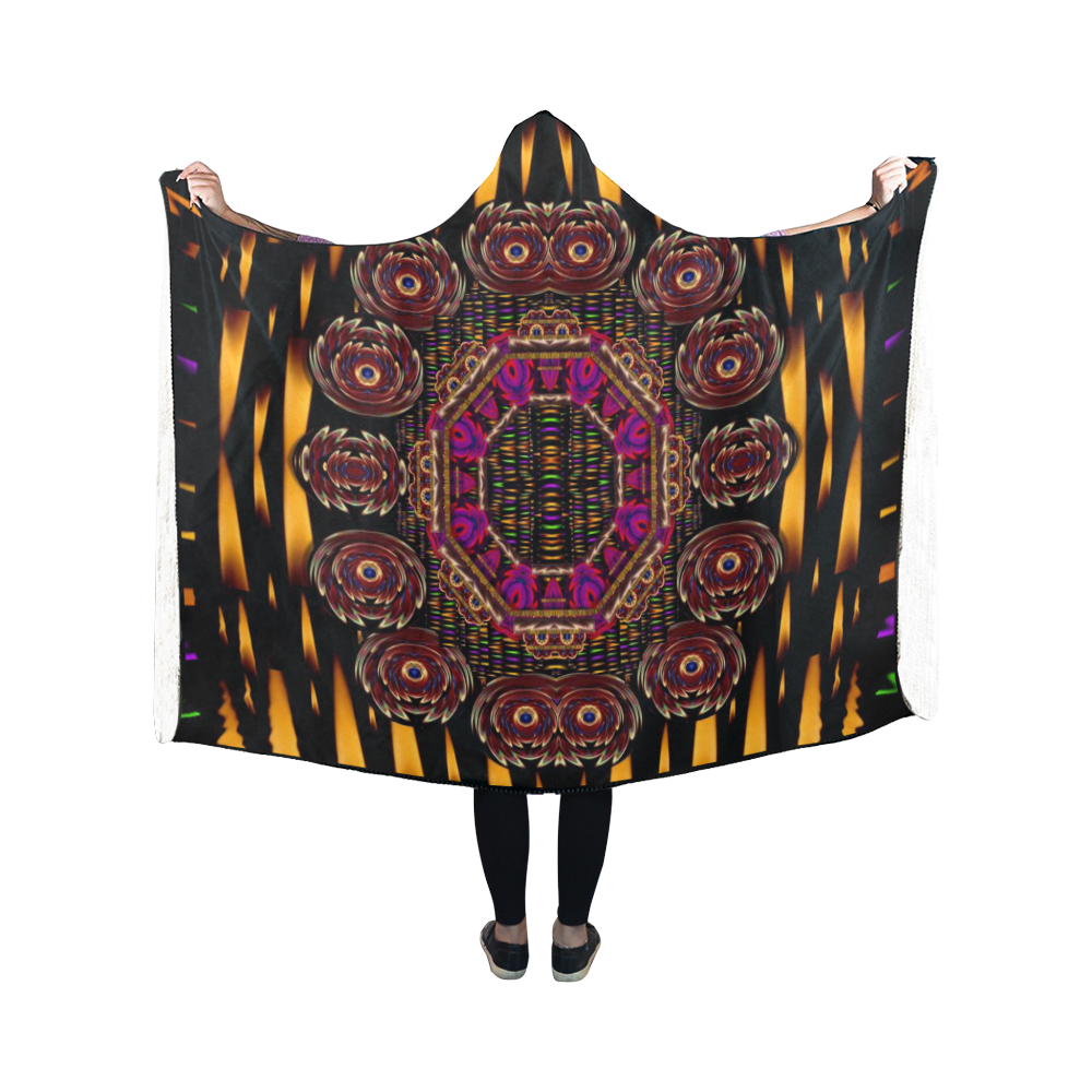 a flaming star is born on the  metal sky Hooded Blanket 50''x40''