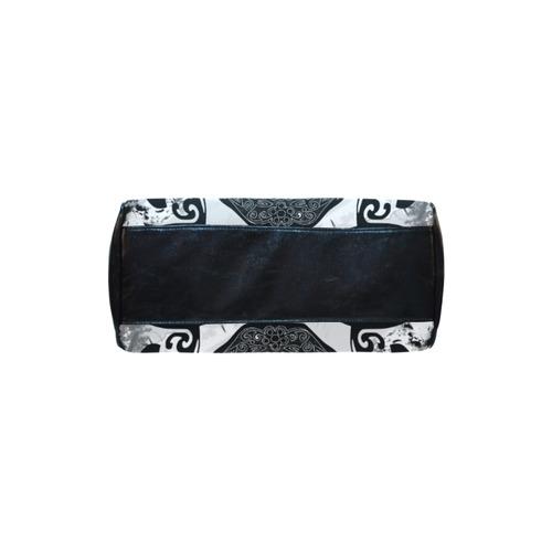 SKULL TRIBAL CULT BLACK AND WHITE Boston Handbag (Model 1621)