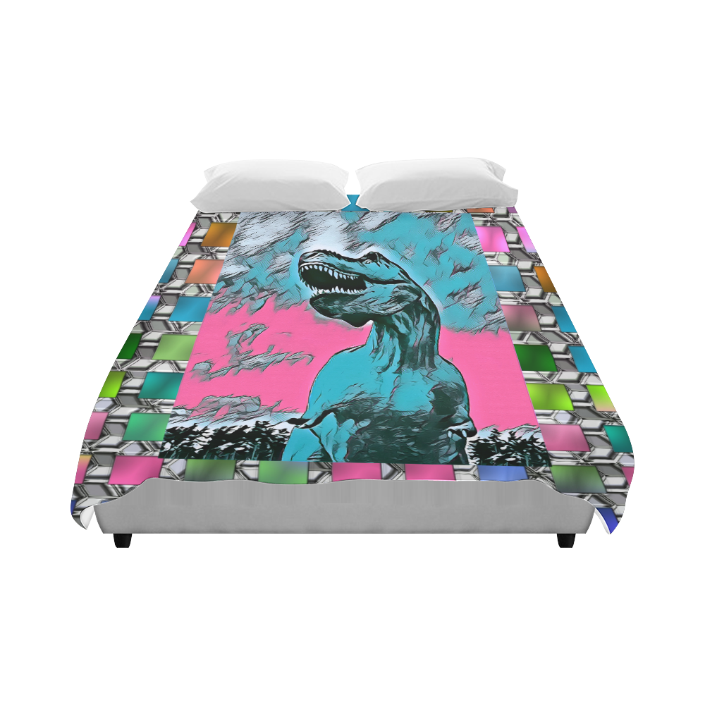 "DINO SQUARE ABSTRACT VI Duvet Cover 86""x70"" ( All-over-print)"
