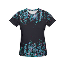 Blue Bubbles on Black Background Photo All Over Print T-Shirt for Women (USA Size) (Model T40)