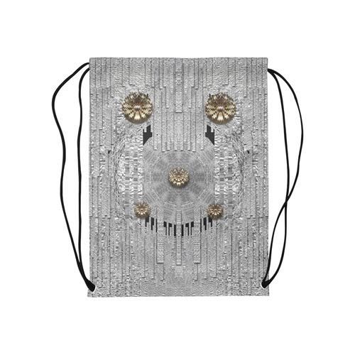 """Wonderful gold flowers on silver Medium Drawstring Bag Model 1604 (Twin Sides) 13.8""""(W) * 18.1""""(H)"""