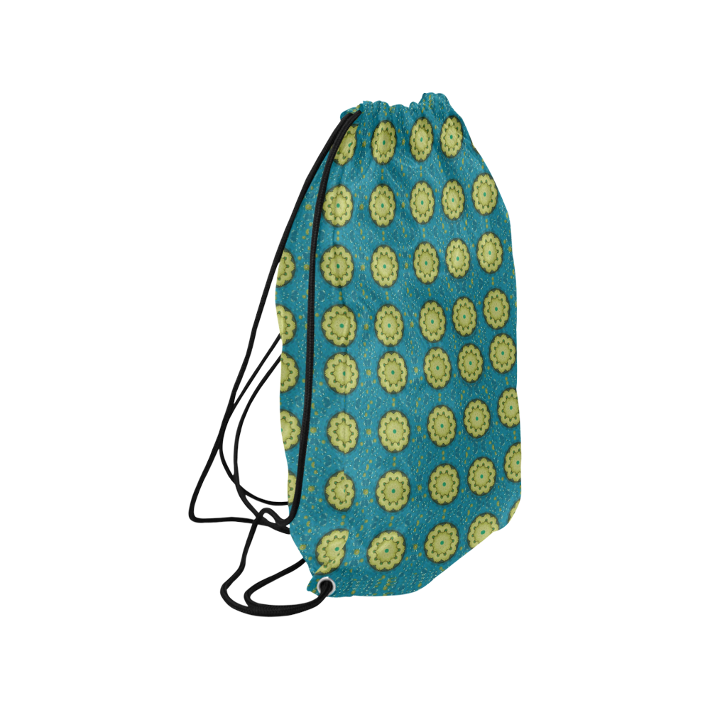 "Sunshine mandalas on blue Medium Drawstring Bag Model 1604 (Twin Sides) 13.8""(W) * 18.1""(H)"