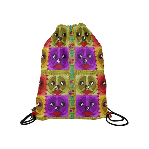 "peace dogs Medium Drawstring Bag Model 1604 (Twin Sides) 13.8""(W) * 18.1""(H)"