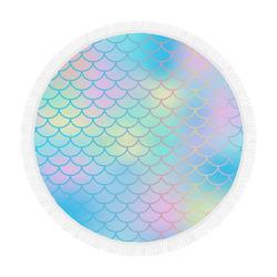 "mermaid circular picnic rug Circular Beach Shawl 59""x 59"""