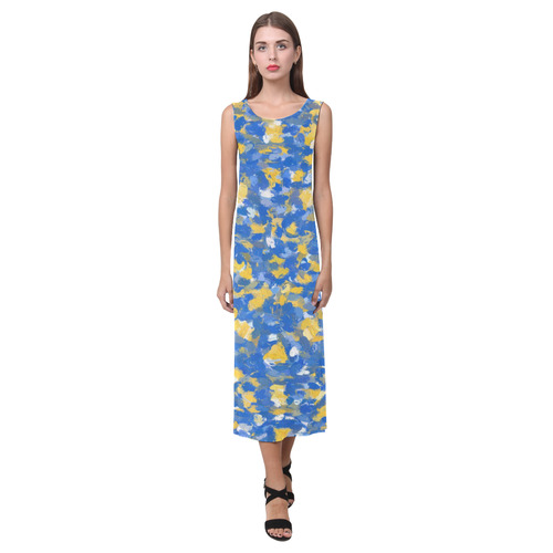 Blue, yellow and white paint splashes Phaedra Sleeveless Open Fork Long Dress (Model D08)