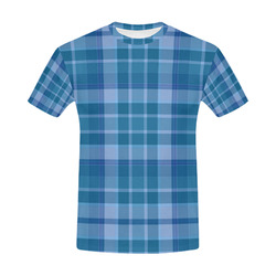 Shades of Blue Plaid All Over Print T-Shirt for Men (USA Size) (Model T40)