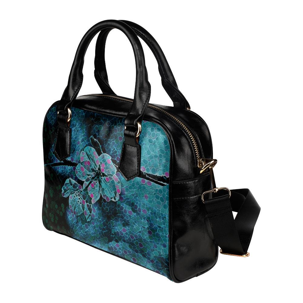 FLOWERS ART BLUE DREAM Shoulder Handbag (Model 1634)