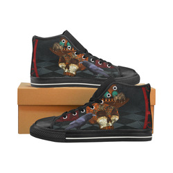 Steampunk skull with rat and hat Women's Classic High Top Canvas Shoes (Model 017)