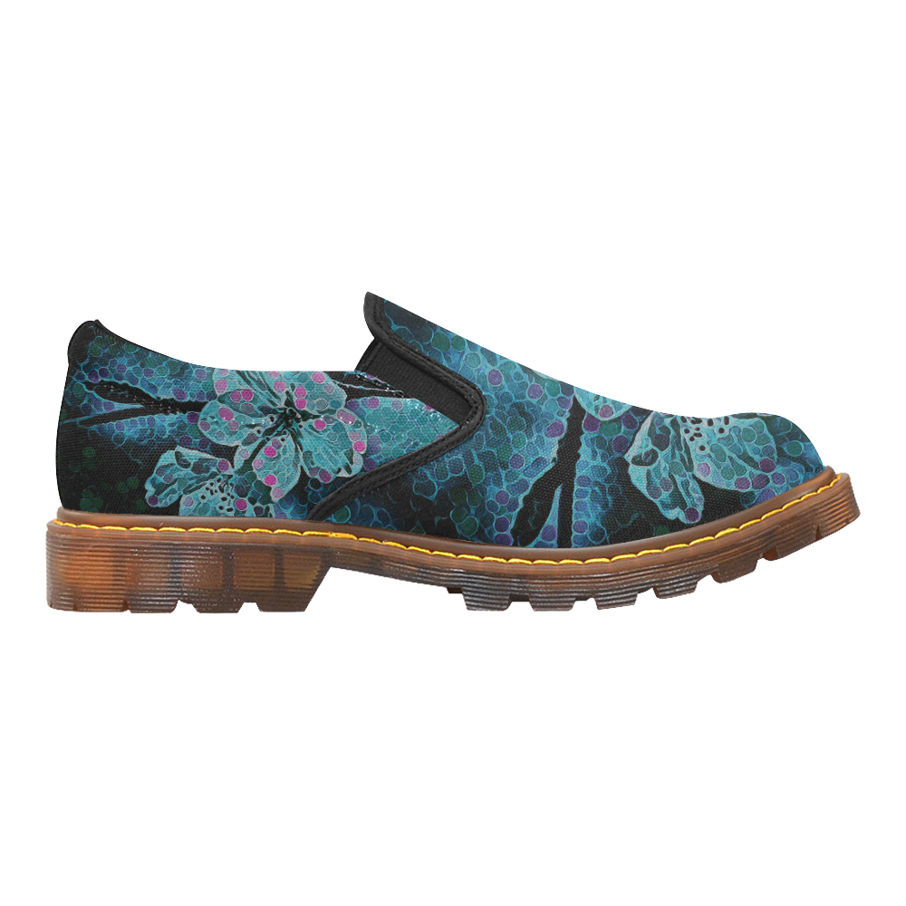 FLOWERS ART BLUE Martin Women's Slip-On Loafer (Model 12031)