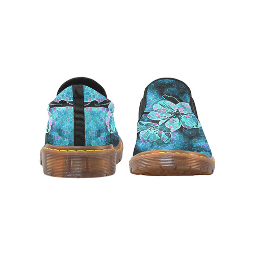 FLOWERS PAINTING BLUE Martin Women's Slip-On Loafer (Model 12031)