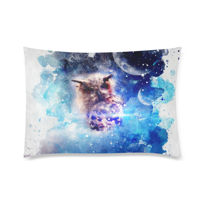"Watercolor, owl in the unoverse Custom Zippered Pillow Case 20""x30"" (one side)"