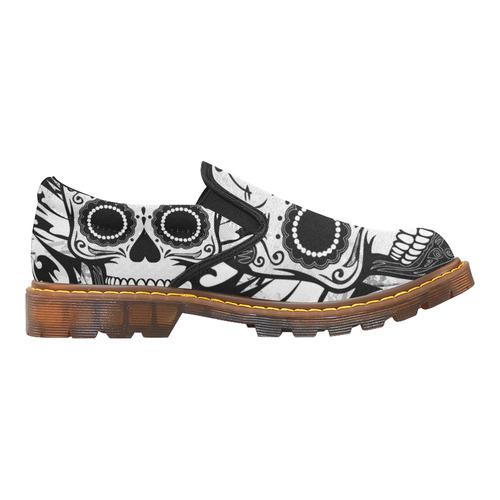 SKULL WITH WOLF BW Martin Women's Slip-On Loafer (Model 12031)