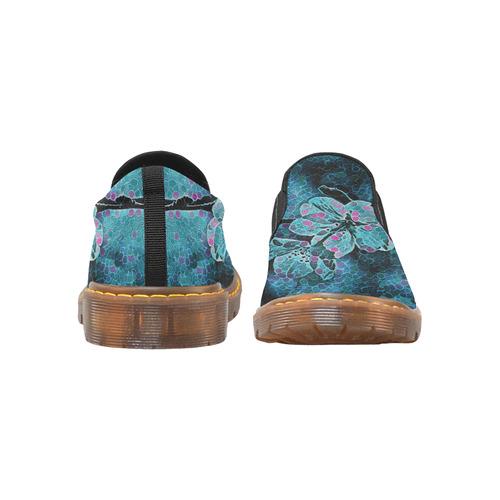 FLOWERS ART BLUE Martin Women's Slip-On Loafer/Large Size (Model 12031)