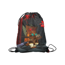 "Steampunk skull with rat and hat Medium Drawstring Bag Model 1604 (Twin Sides) 13.8""(W) * 18.1""(H)"