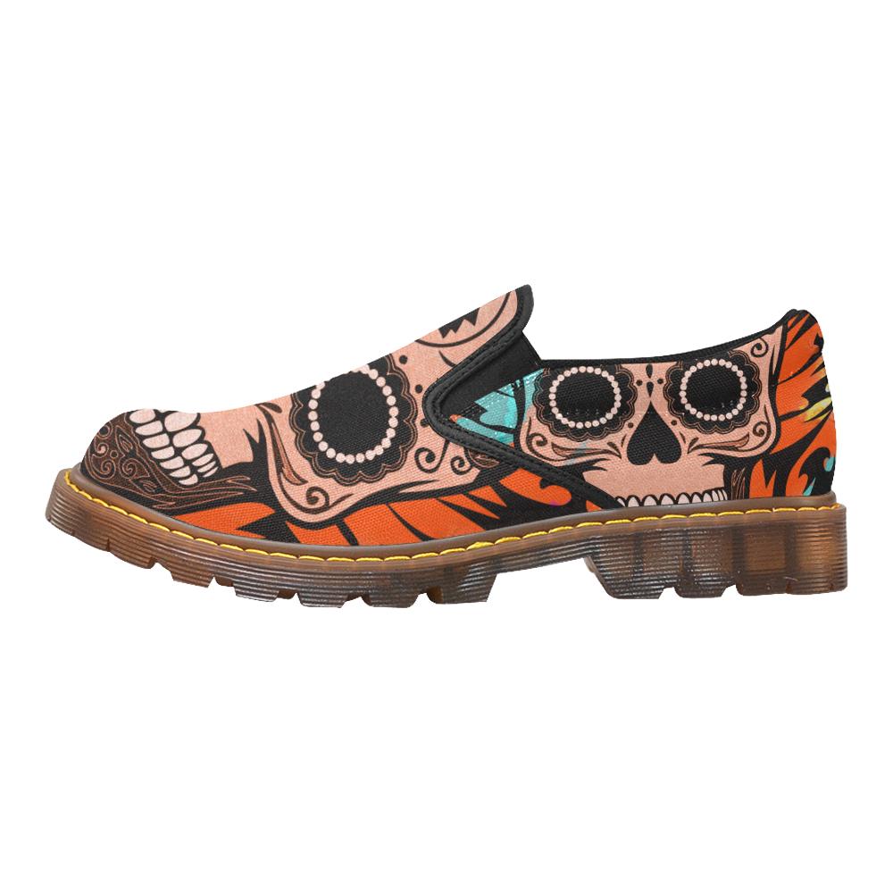 SKULL PAINTING ORANGE Martin Women's Slip-On Loafer (Model 12031)