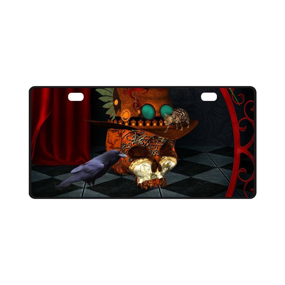 Steampunk skull with rat and hat License Plate