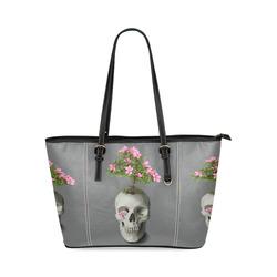 Bonsai Skull Leather Tote Bag/Small (Model 1640)