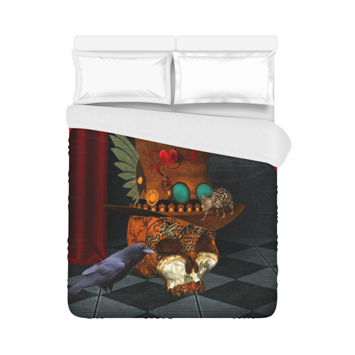 "Steampunk skull with rat and hat Duvet Cover 86""x70"" ( All-over-print)"