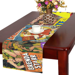 Vintage Comic Collage Table Runner 16x72 inch