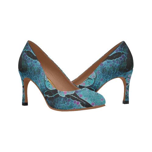 FLOWERS BLUE DREAM II Women's High Heels (Model 048)