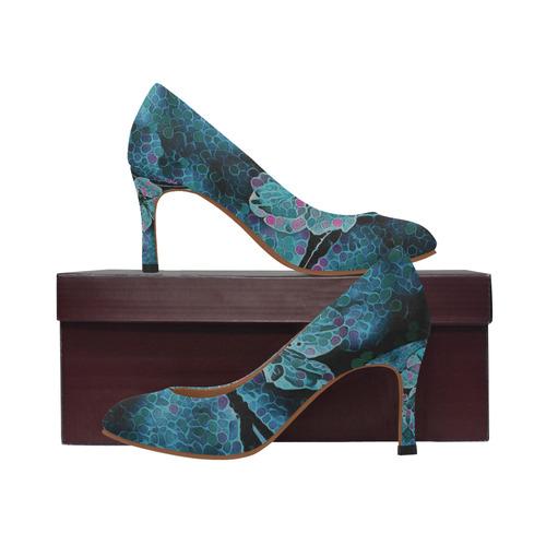 FLOWERS BLUE DREAM Women's High Heels (Model 048)