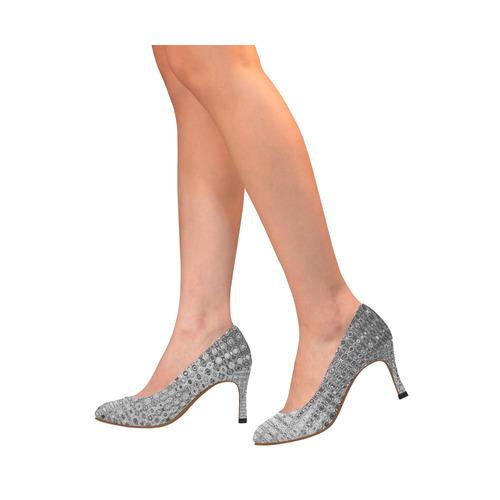 SILVER GRAY TEXTURE Women's High Heels (Model 048)