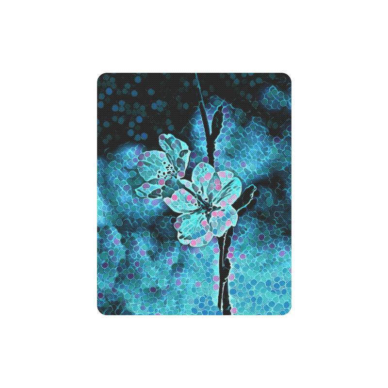 ABSTRACT BLUE FLOWERS MOUSEPAD Rectangle Mousepad