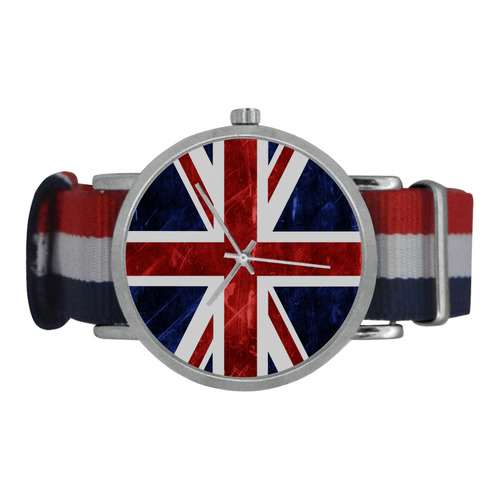 Grunge Union Jack Flag Nylon Strap Watch (Model 215)