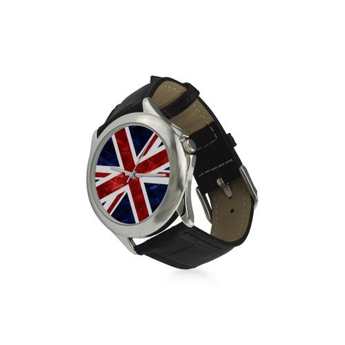 Grunge Union Jack Flag Women's Classic Leather Strap Watch(Model 203)