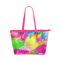 Vibrant Watercolor Ink Blend Leather Tote Bag/Large (Model 1651)