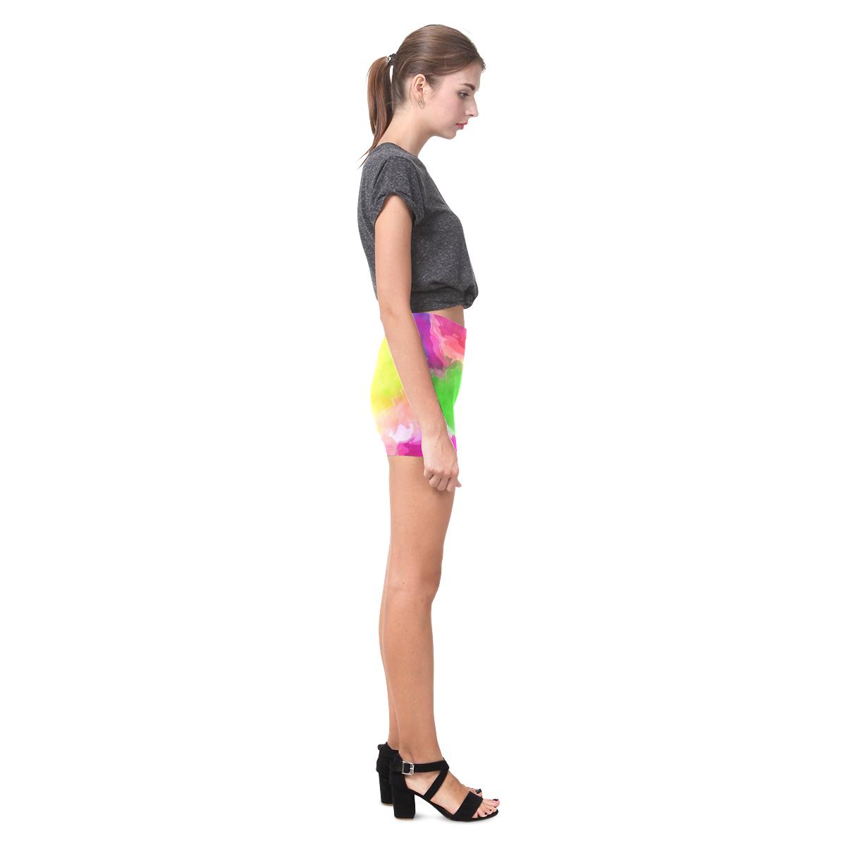 Vibrant Watercolor Ink Blend Briseis Skinny Shorts (Model L04)