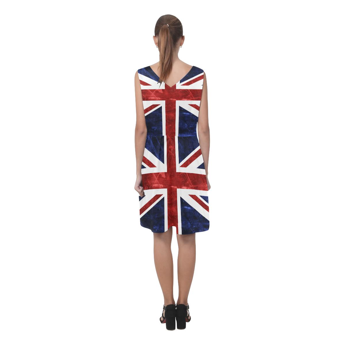 Grunge Union Jack Flag Chryseis Sleeveless Pleated Dress(Model D07)