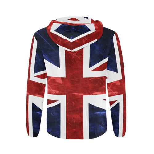 Grunge Union Jack Flag All Over Print Full Zip Hoodie for Men (Model H14)
