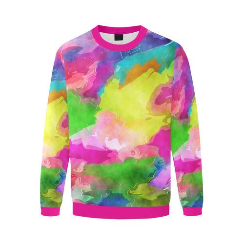 Vibrant Watercolor Ink Blend Men's Oversized Fleece Crew Sweatshirt (Model H18)