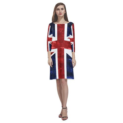 Grunge Union Jack Flag Rhea Loose Round Neck Dress(Model D22)