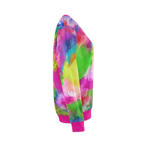 Vibrant Watercolor Ink Blend All Over Print Crewneck Sweatshirt for Women (Model H18)