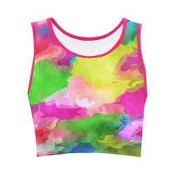Vibrant Watercolor Ink Blend Women's Crop Top (Model T42)