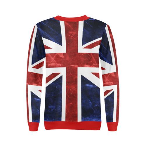 Grunge Union Jack Flag All Over Print Crewneck Sweatshirt for Women (Model H18)