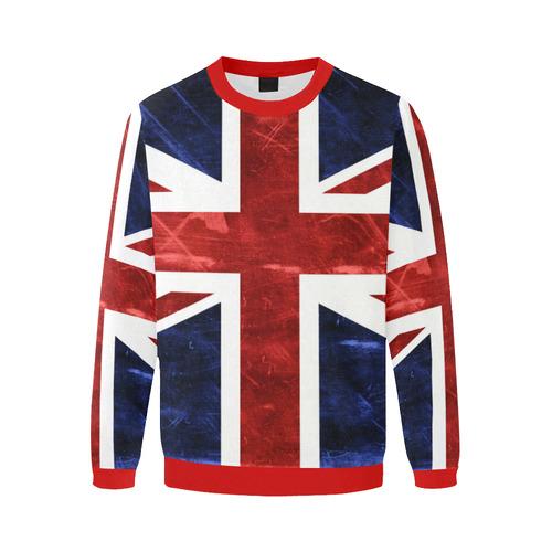 Grunge Union Jack Flag Men's Oversized Fleece Crew Sweatshirt/Large Size(Model H18)