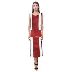 Grunge Union Jack Flag Phaedra Sleeveless Open Fork Long Dress (Model D08)