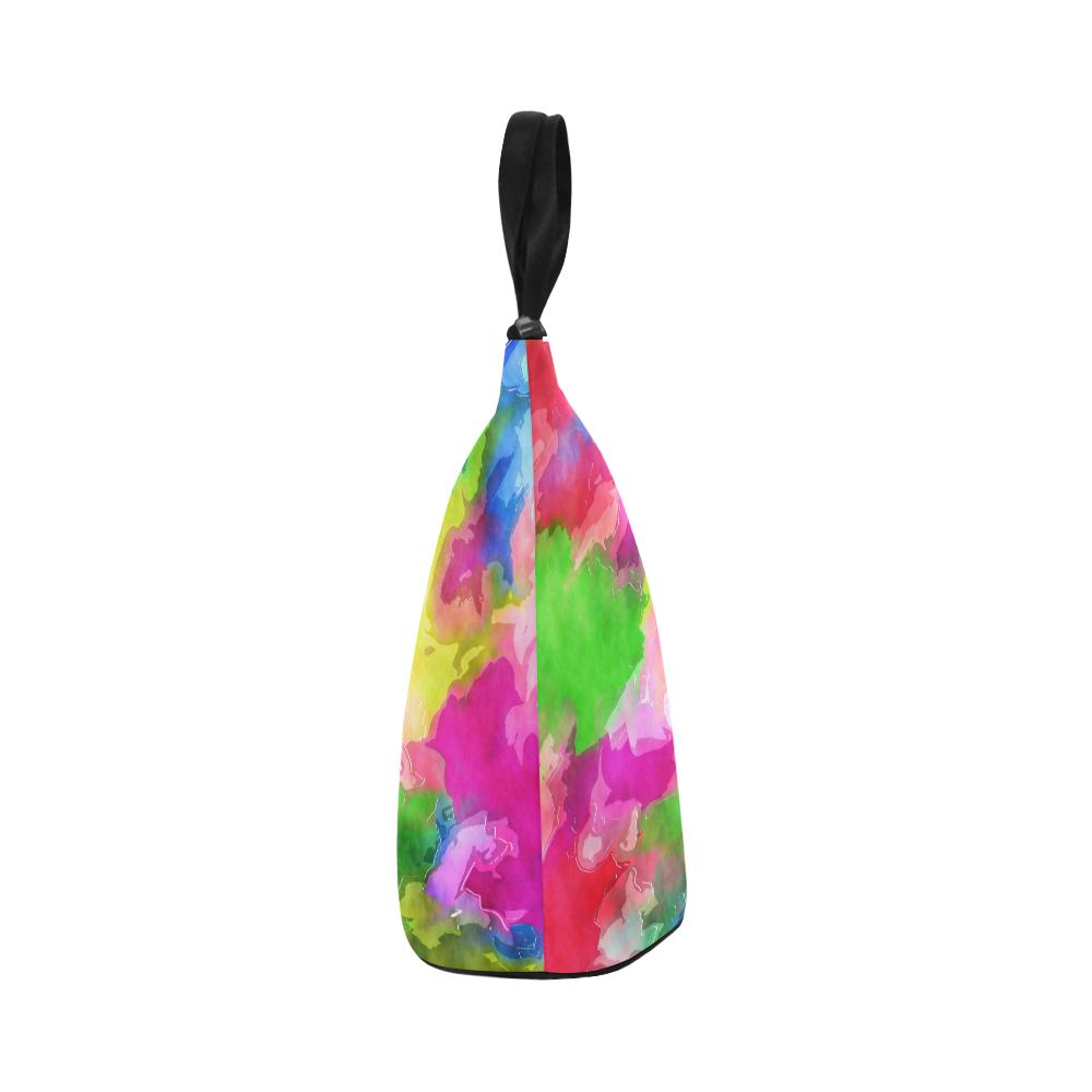 Vibrant Watercolor Ink Blend Nylon Lunch Tote Bag (Model 1670)