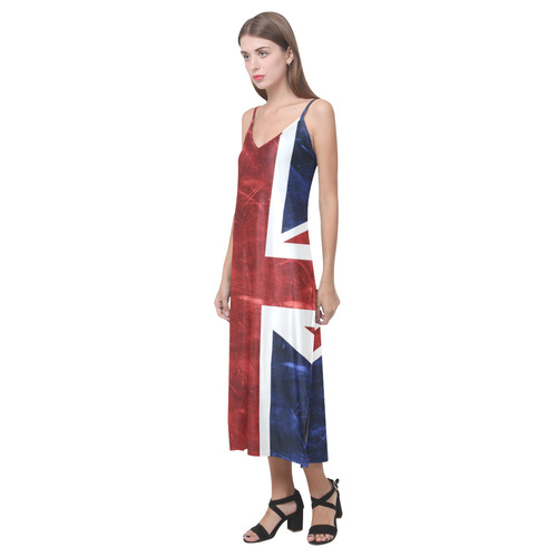 Grunge Union Jack Flag V-Neck Open Fork Long Dress(Model D18)