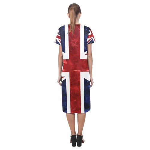 Grunge Union Jack Flag Short Sleeves Casual Dress(Model D14)