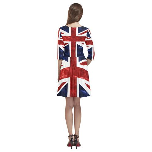 Grunge Union Jack Flag Tethys Half-Sleeve Skater Dress(Model D20)