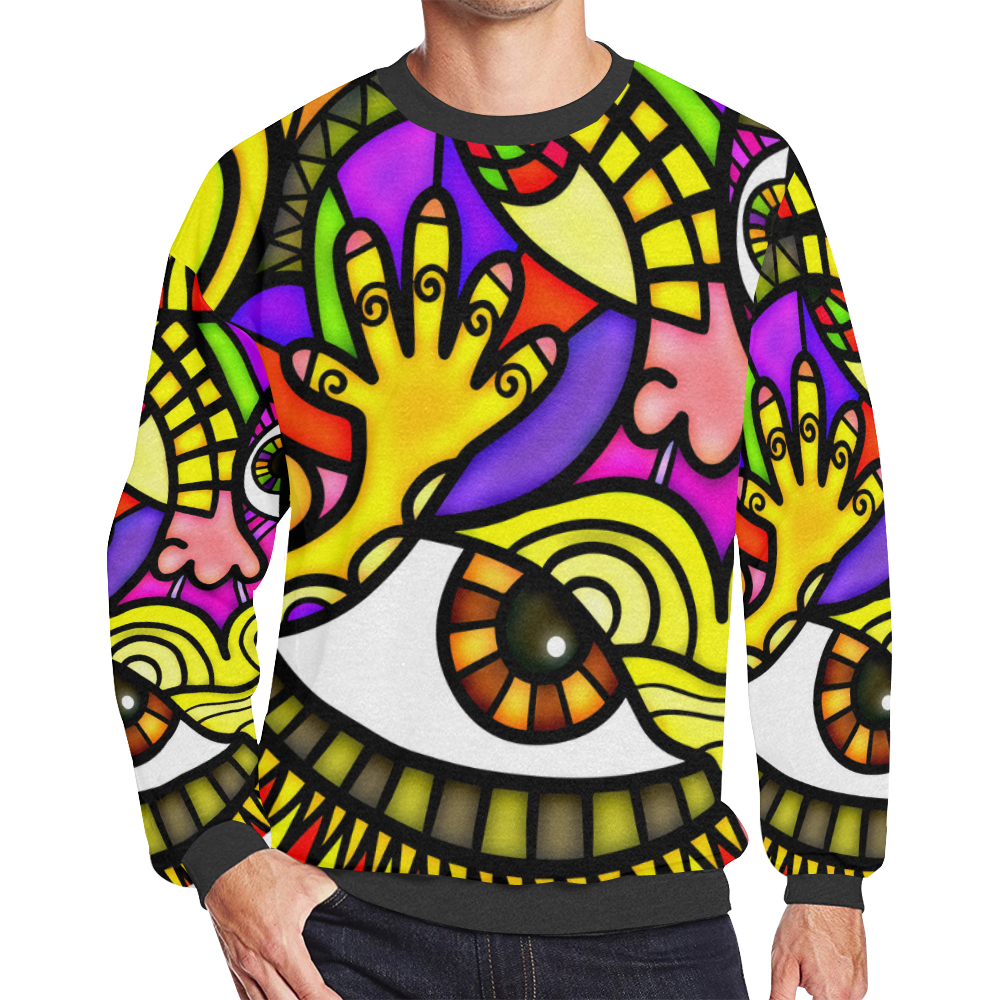 Lonely Without You Men's Oversized Fleece Crew Sweatshirt (Model H18)