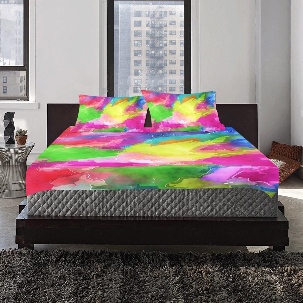 Vibrant Watercolor Ink Blend 3-Piece Bedding Set