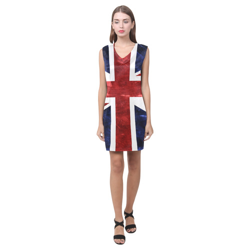 Grunge Union Jack Flag Phoebe Sleeveless V-Neck Dress (Model D09)