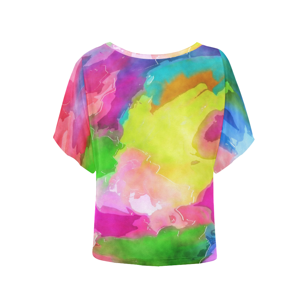 Vibrant Watercolor Ink Blend Women's Batwing-Sleeved Blouse T shirt (Model T44)