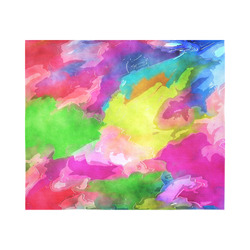 """Vibrant Watercolor Ink Blend Cotton Linen Wall Tapestry 60""""x 51"""""""